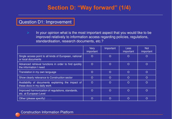 "Section D: ""Way forward"" (1/4)"