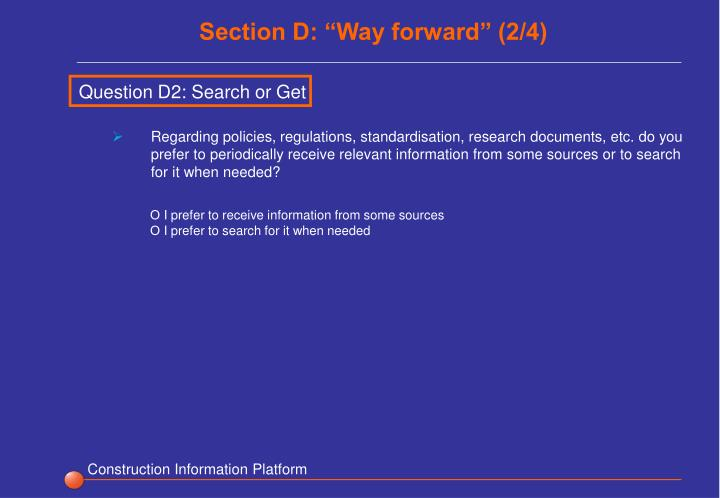 "Section D: ""Way forward"" (2/4)"