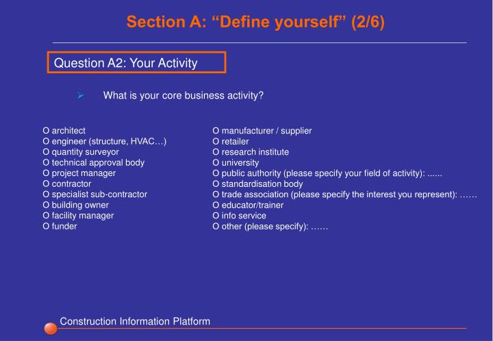 "Section A: ""Define yourself"" (2/6)"
