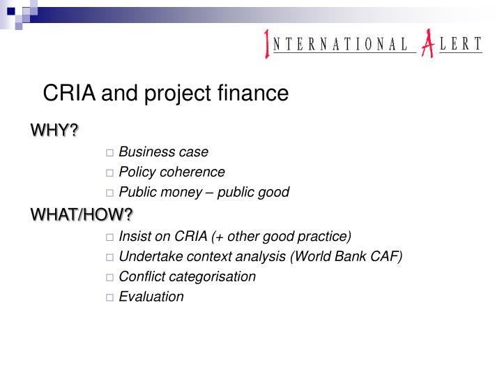 CRIA and project finance