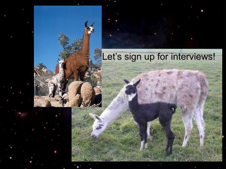Let's sign up for interviews!