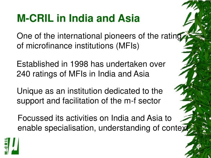 M-CRIL in India and Asia
