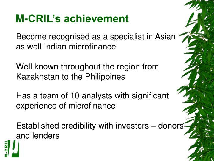 M-CRIL's achievement