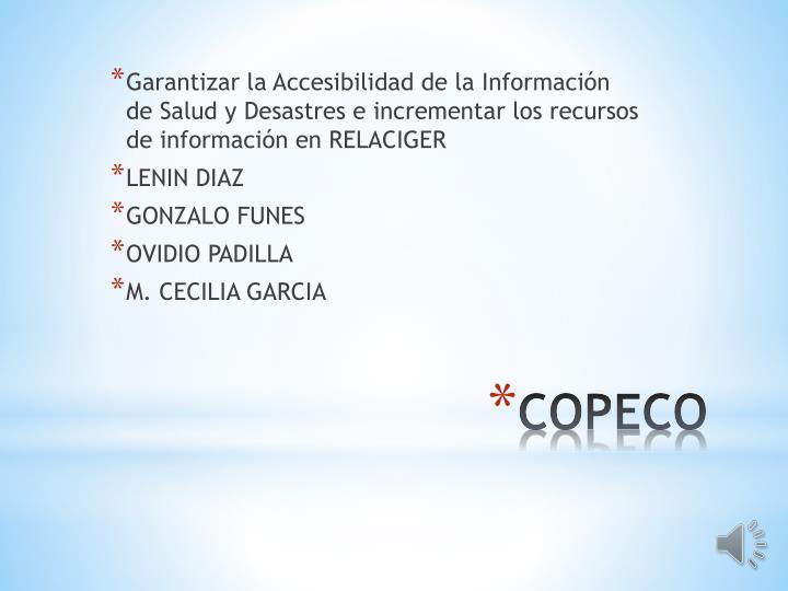 Garantizar la Accesibilidad de la Información de Salud y Desastres e incrementar los recursos de información en RELACIGER