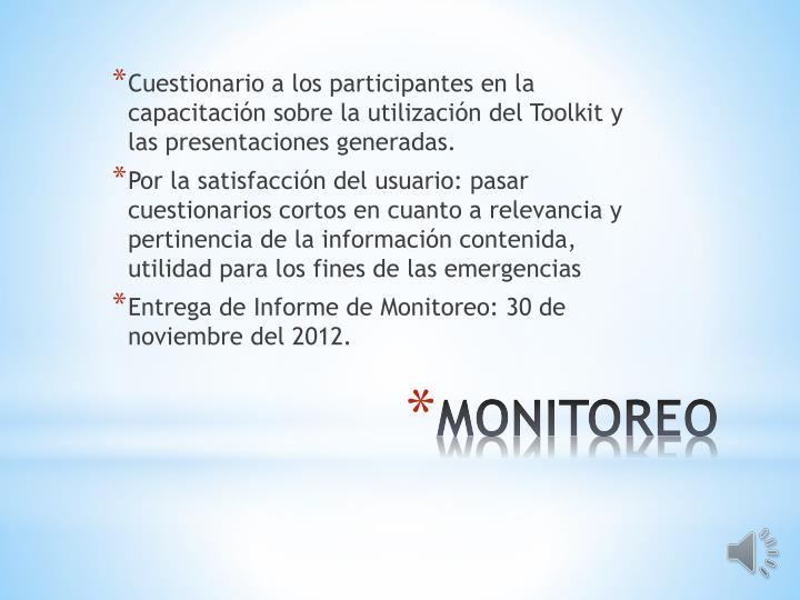 Cuestionario a los participantes en la capacitación sobre la utilización del Toolkit y las presentaciones generadas.