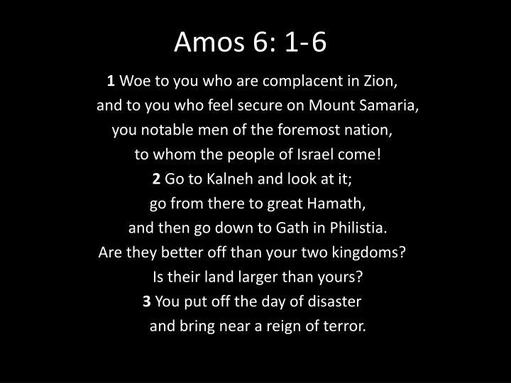 Amos 6: 1-