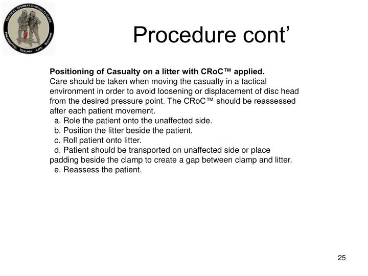 Procedure cont'