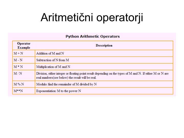Aritmetični operatorji