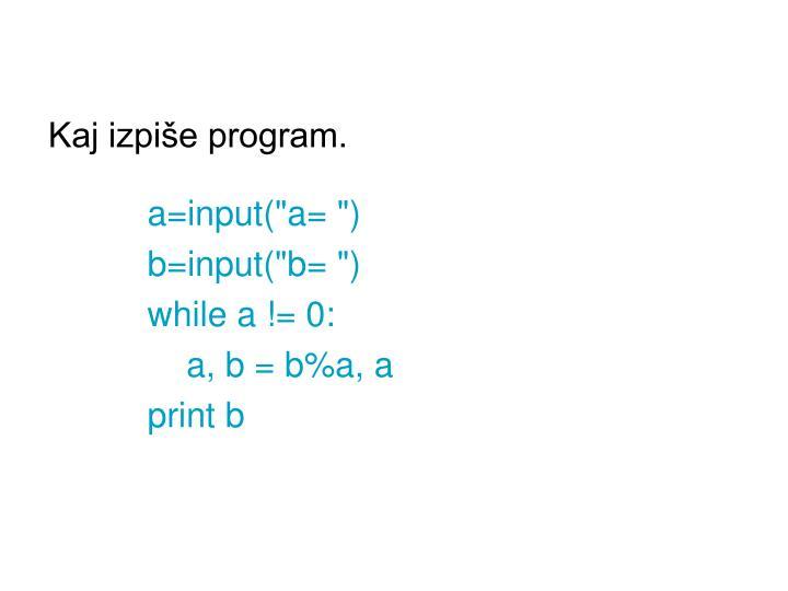 Kaj izpiše program.