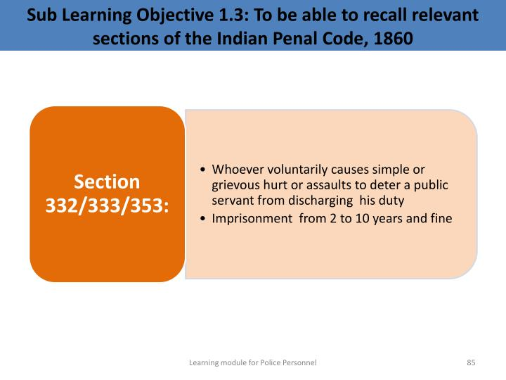 Sub Learning Objective 1.3: To be able to recall relevant sections of the Indian Penal Code, 1860