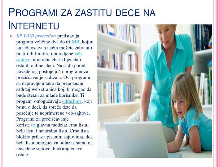 Programi za zastitu dece na Internetu