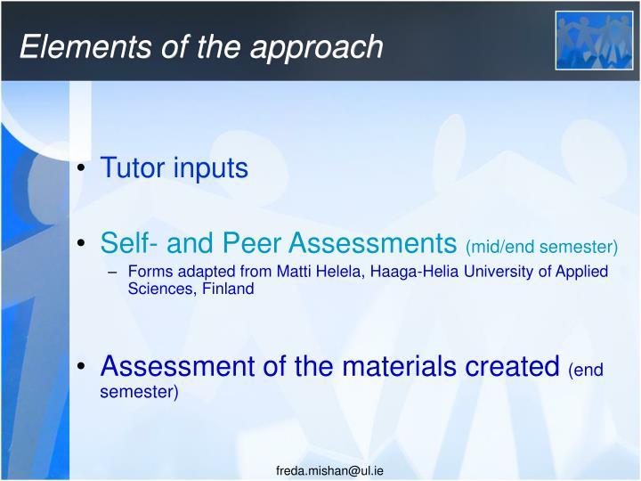 Elements of the approach