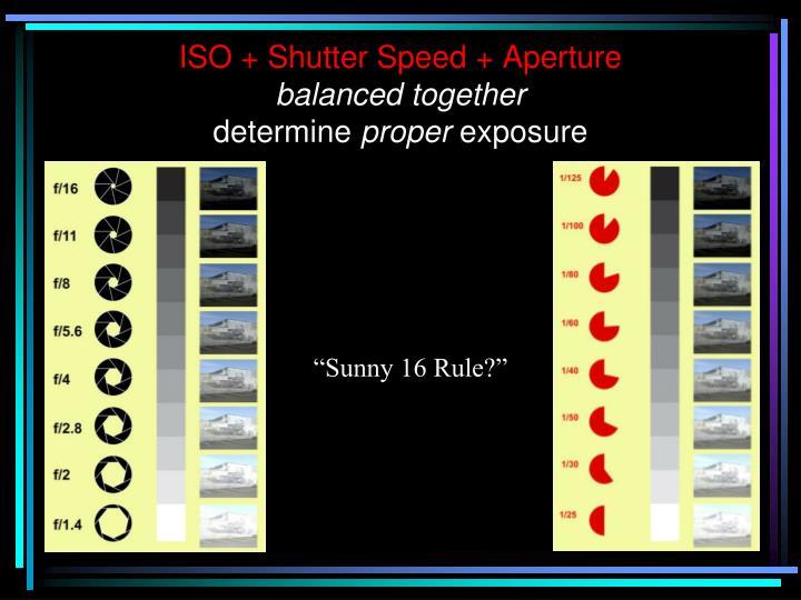 ISO + Shutter Speed + Aperture