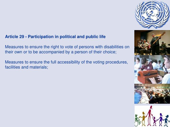 Article 29 - Participation in political and public life
