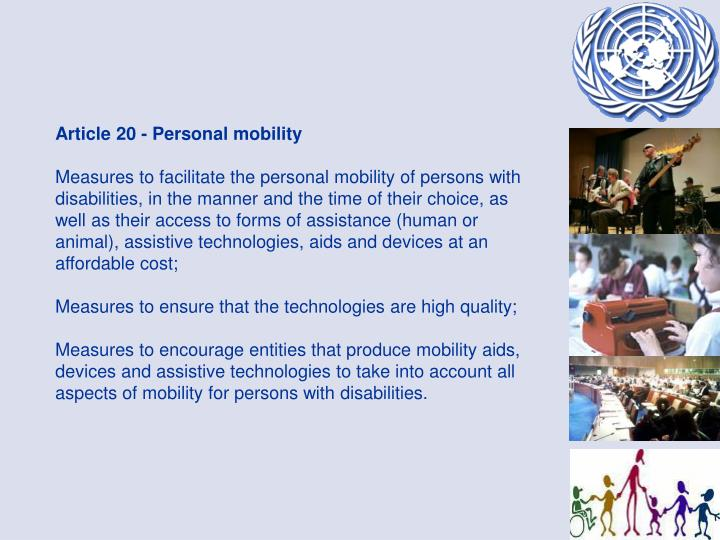 Article 20 - Personal mobility