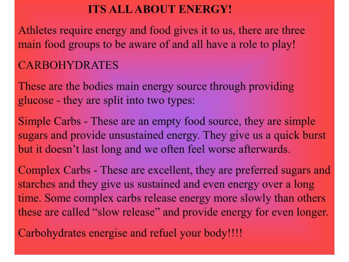 ITS ALL ABOUT ENERGY!