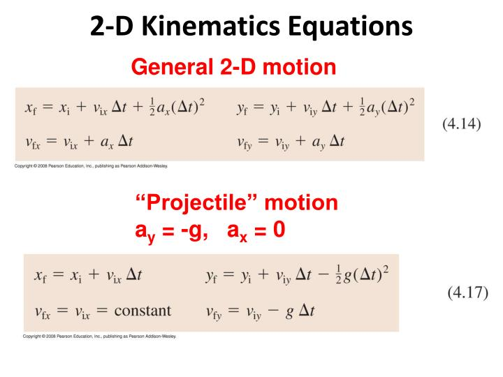 2-D Kinematics Equations