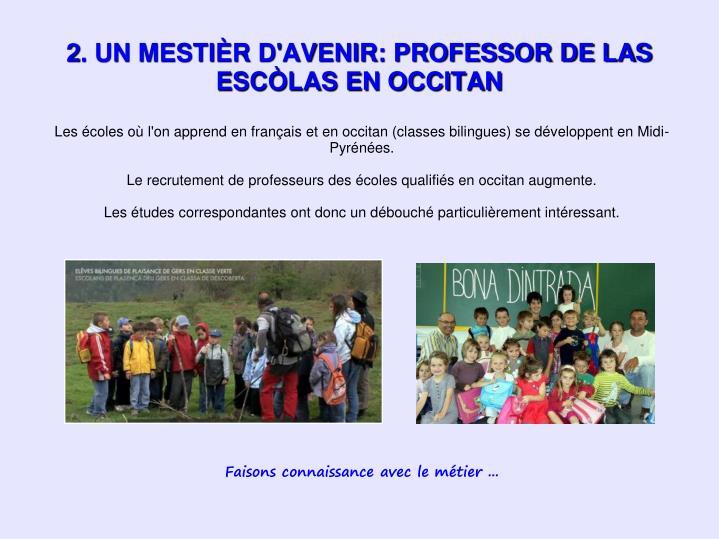 Les écoles où l'on apprend en français et en occitan (classes bilingues) se développent en Midi-Pyrénées.