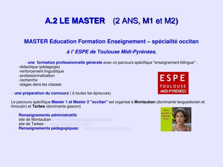 MASTER Education Formation Enseignement – spécialité occitan