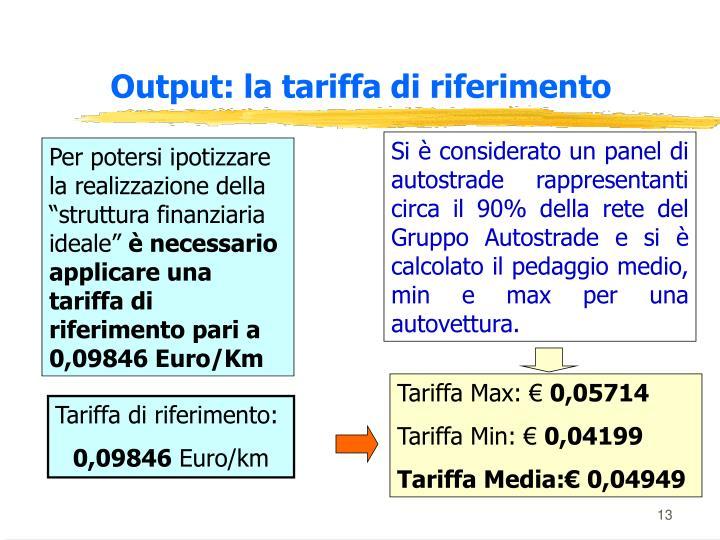 Output: la tariffa di riferimento