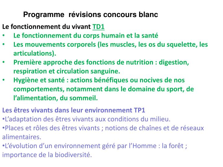 Programme  rvisions concours blanc