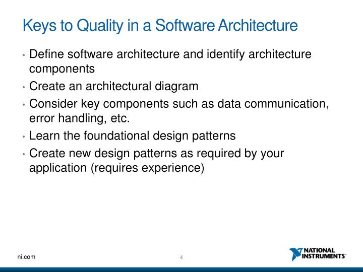 Keys to Quality in a Software Architecture
