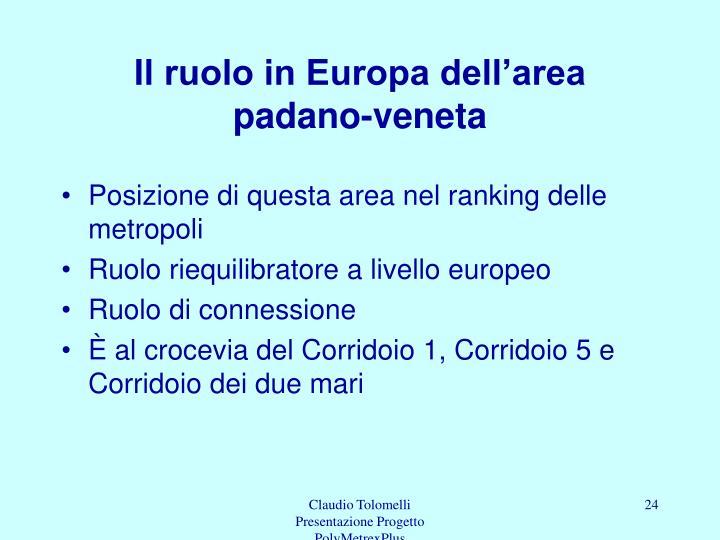 Il ruolo in Europa dell'area padano-veneta