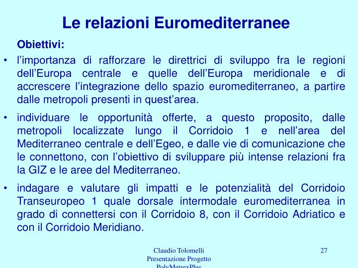 Le relazioni Euromediterranee