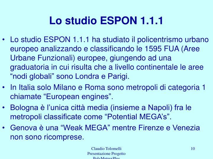Lo studio ESPON 1.1.1