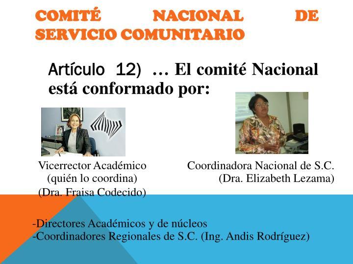 COMITÉ   NACIONAL   DE   SERVICIO COMUNITARIO