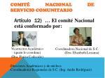 comit nacional de servicio comunitario
