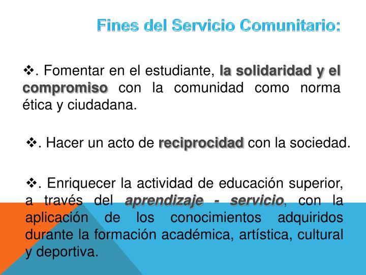 Fines del Servicio Comunitario: