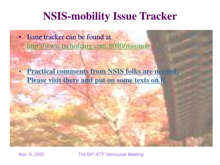 NSIS-mobility Issue Tracker