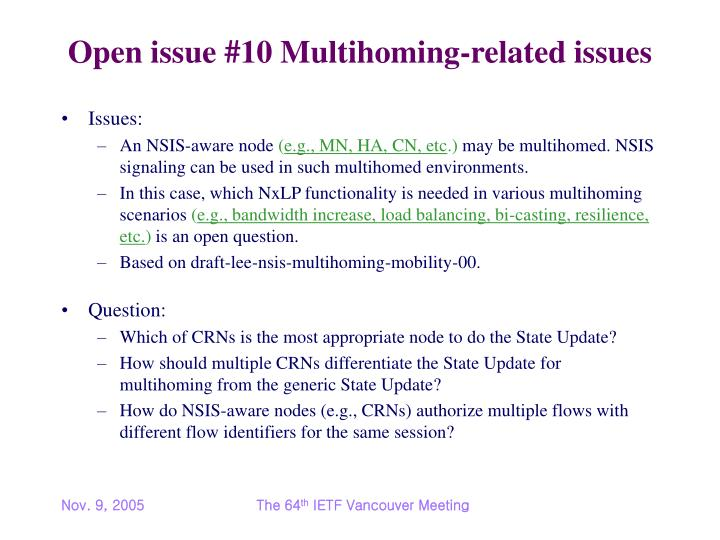 Open issue #10 Multihoming-related issues