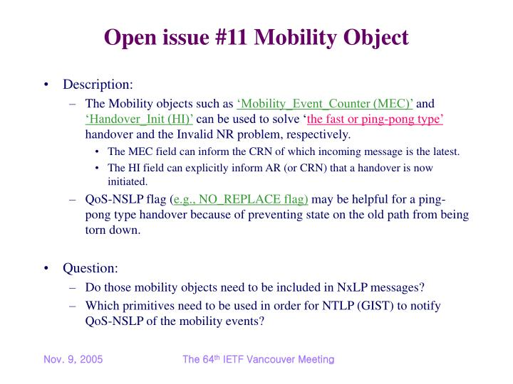 Open issue #11 Mobility Object