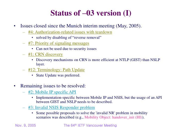 Status of 03 version i