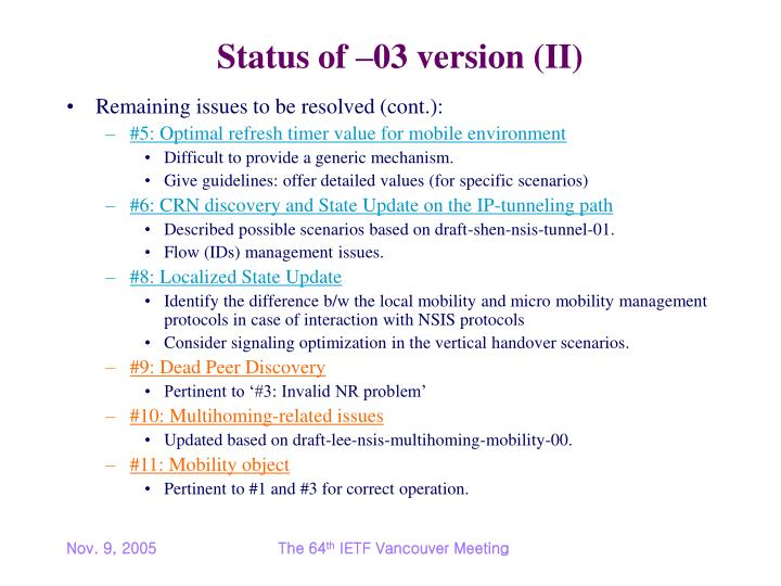 Status of 03 version ii