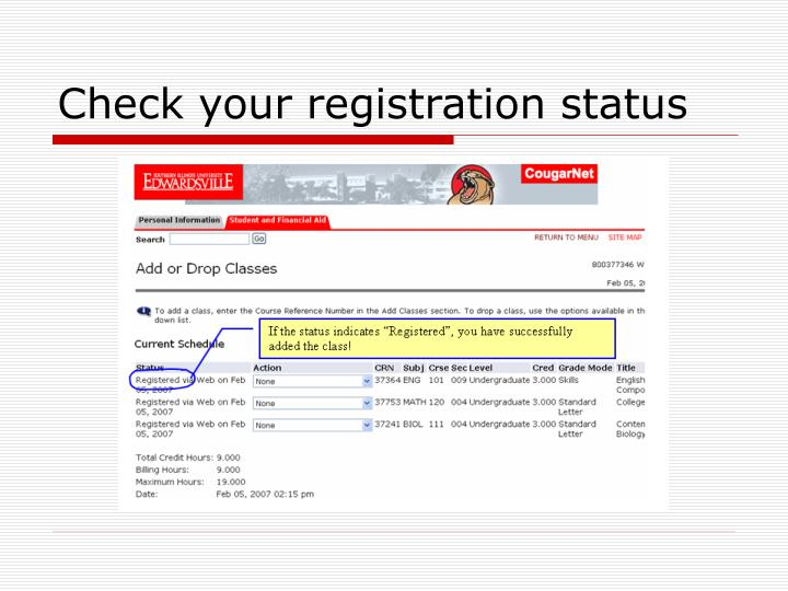 Check your registration status