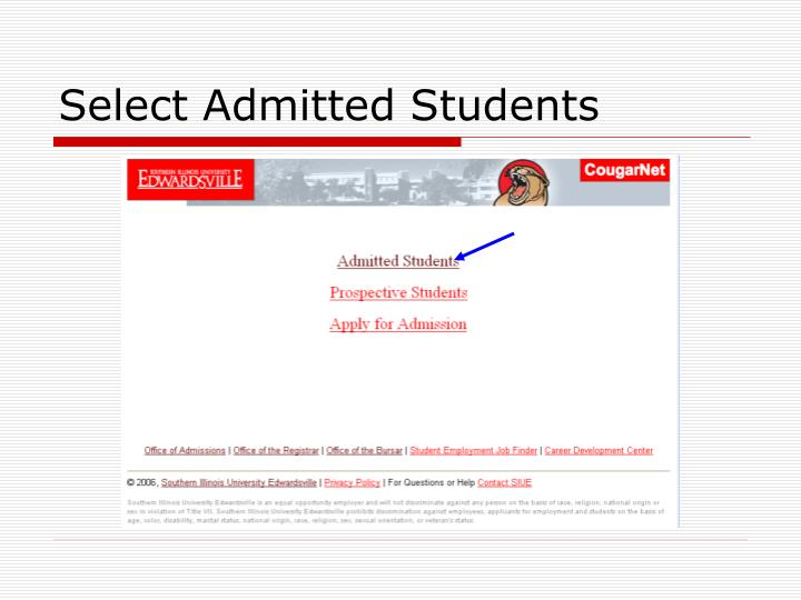Select Admitted Students