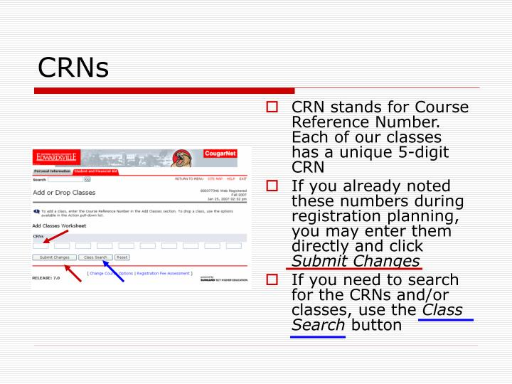 CRN stands for Course Reference Number. Each of our classes has a unique 5-digit CRN