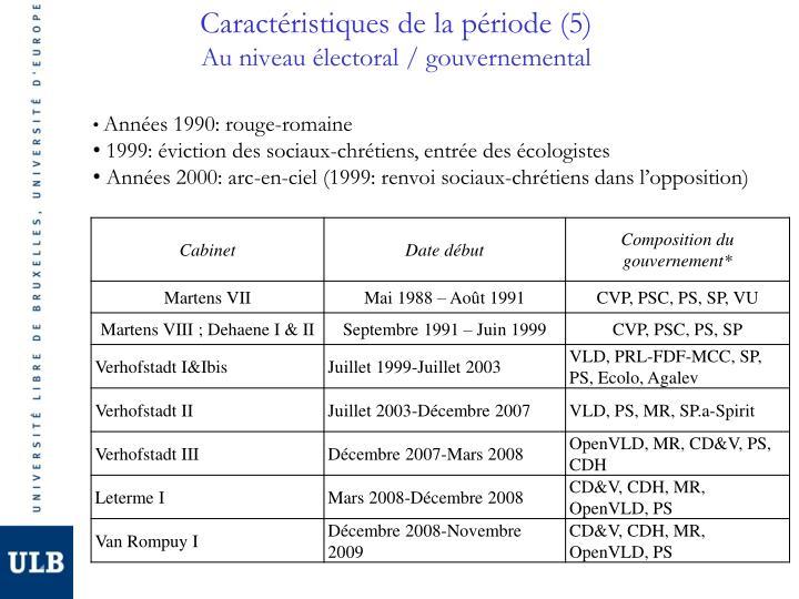 Caractéristiques de la période (5)