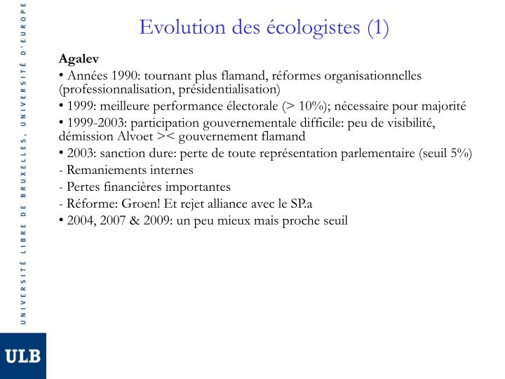 Evolution des écologistes (1)