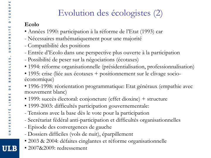 Evolution des écologistes (2)