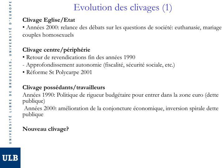 Evolution des clivages (1)