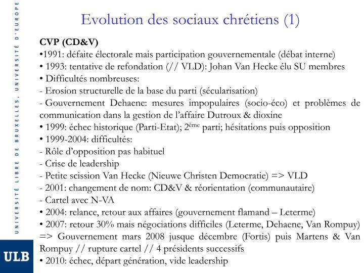 Evolution des sociaux chrétiens (1)
