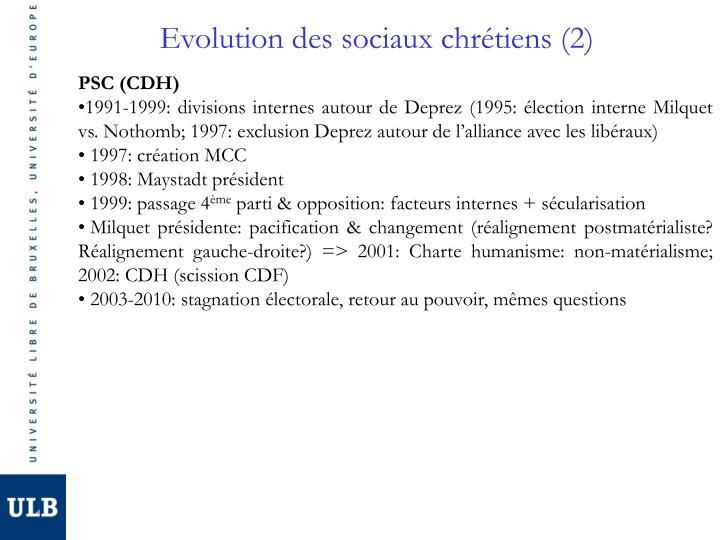 Evolution des sociaux chrétiens (2)