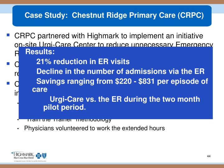 Case Study:  Chestnut Ridge Primary Care (CRPC)