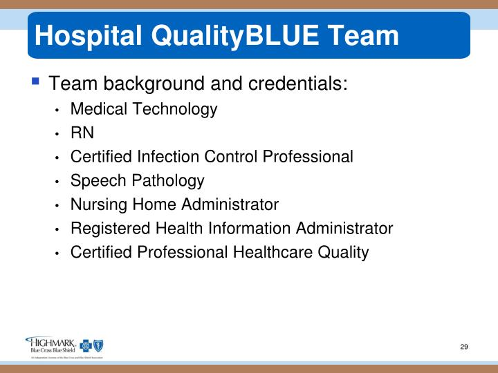 Hospital QualityBLUE Team