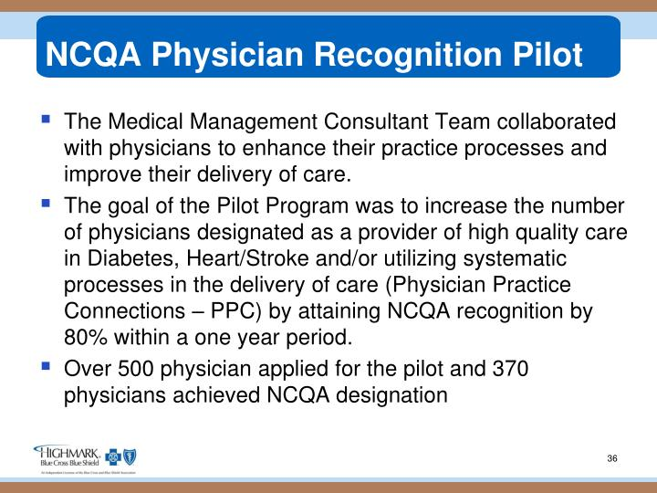 NCQA Physician Recognition Pilot