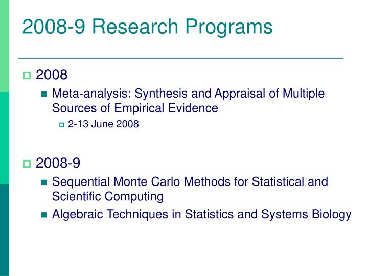 2008-9 Research Programs